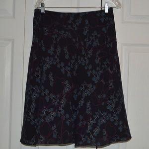 Calvin Klein 6 Blue/Maroon Floral Silk Skirt